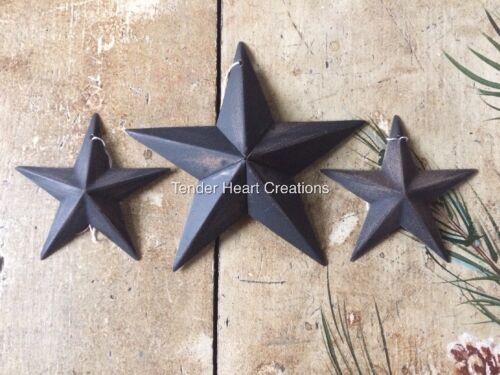 """Set of 3 ~ DISTRESSED BLACK BARN STARS 5.5""""/3.5"""" PRIMITIVE RUSTIC COUNTRY"""