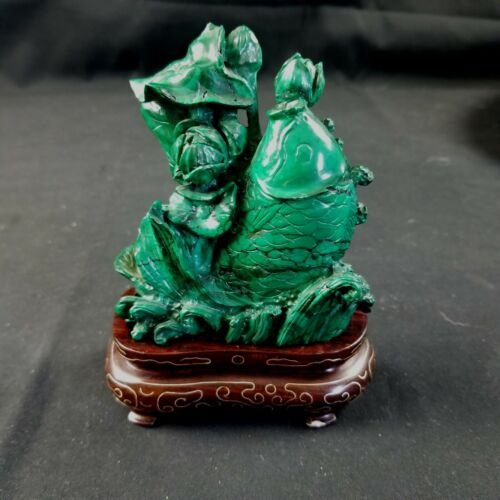 "Antique Chinese Malachite Carvings ""Fish"""