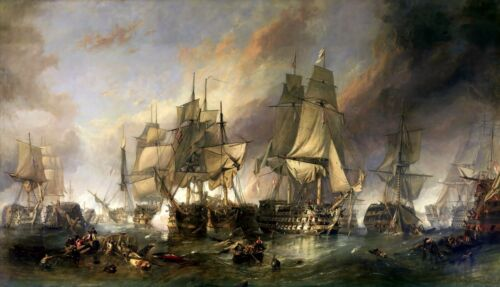 The Battle of Trafalgar Painting by William Clarkson Stanfield Art Reproduction