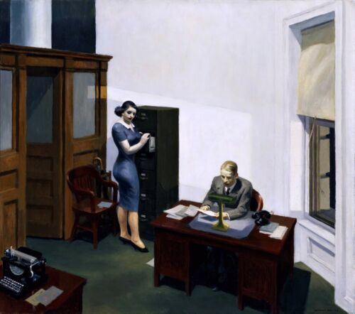 Office at Night Painting by Edward Hopper Art Reproduction