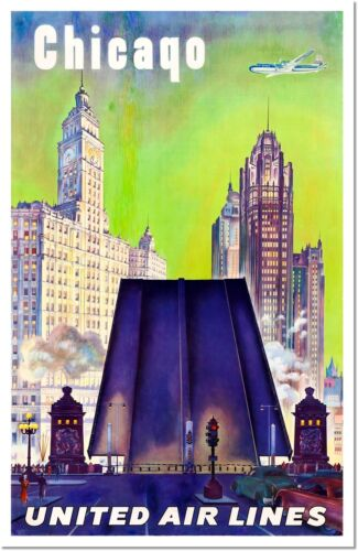 Chicago United Airlines Art Deco Vintage Travel Poster Reproduction