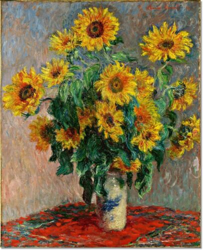 Stretched Canvas - Bouquet of Sunflowers Painting by Claude Monet Reproduction