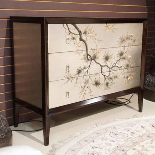 Beautiful Hand painted Mahogany chest of drawers Dresser Silver and Espresso
