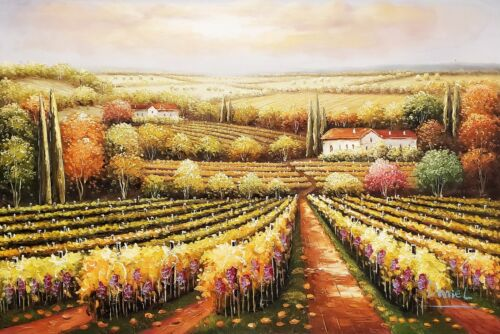 Tuscan Vineyard  #4-006A4, 24x36, 100% Hand Painted Oil Painting on Canvas