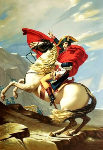 Napoleon Crossing the Alps,#2- 24x36 Hand Painted Oil Painting on Giclee Canvas