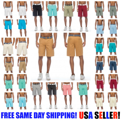 TRUE ROCK Bahamas Belted Chino SHORTS 30 COLORS ! Mens Slim Fit USA! <br/> Free Same Day Shipping! 100% Free Returns! A++ QUALITY!