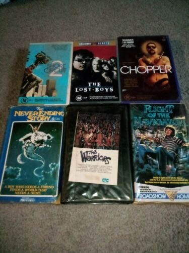 6 classic 80's Vhs movies