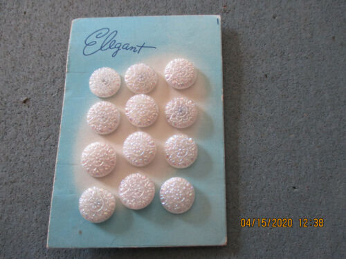 """Card of 12 Silver Designed White Round Glass Buttons .516"""" +/-= 13.12mm +/-"""