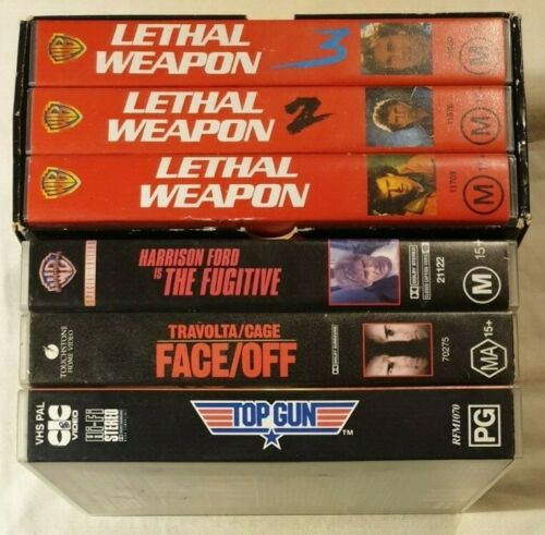 Bulk VHS Lot - 6 Classic Titles: Lethal Weapon Box Set, Face/Off, The Fugitive++