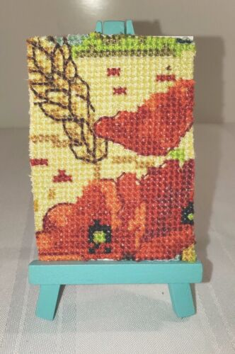 """ACEO POPPY Field of Flowers Cross Stitch Embroidered Handmade 2.5""""x3.5"""" Art #11"""