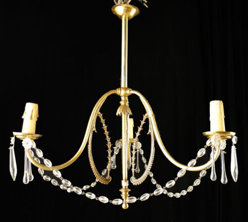 Antique french bronze and glass chandelier (1330)