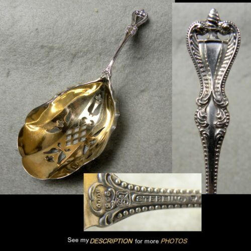 Antique Towle Sterling Silver Bonbon / Nut Spoon Old Colonial Pattern Gold Wash