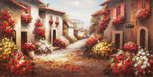 Tuscan Side Street #5, (007A2)- 24x48  100% Hand Painted Oil Painting on Canvas