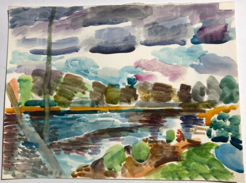 Fauvist Lake & Landscape 12 x 16 Watercolor Painting-1970s-Israel L.Winarsky