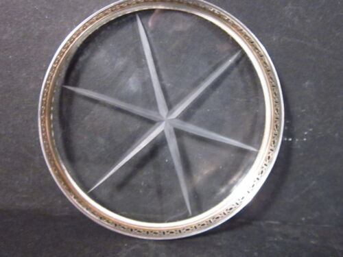 """Webster STERLING & GLASS COASTER 3"""" Pierced Rims Squares & Circles"""