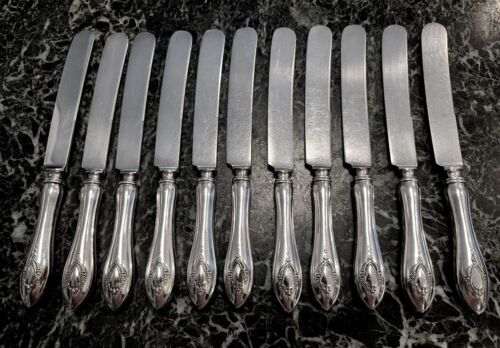 "11 KNIVES LUNT STERLING MOUNT VERNON 8 1/2"" SILVERPLATE OLD FRENCH BLADES EXC."