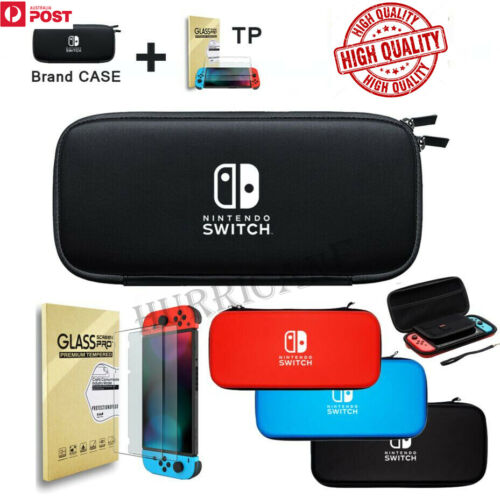 Nintendo Switch Shell Carry Case Storage Bag Protective Cover +2 Tempered Glass