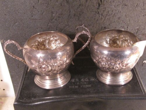 Sterling 2pc HAND CHASED STIEFF ROSE OPEN SUGAR AND CREAMER  No Mono
