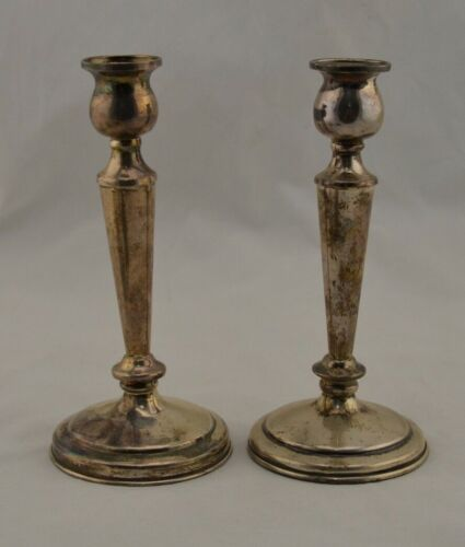 Antique Vintage solid 925 Sterling Silver pair 20cm candle sticks 260g