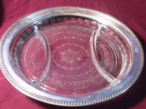 """Wallace  ETCHED GLASS & STERLING RIM DIVIDED DISH 10 1/4"""" J-4"""