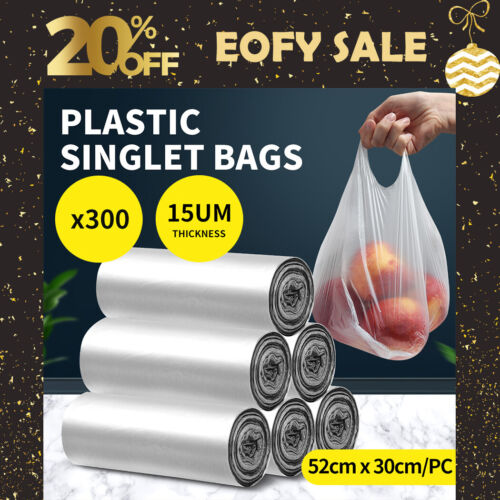300pcs Plastic Singlet Shopping Bags  Large Rubbish Bags Reusable Recyclable