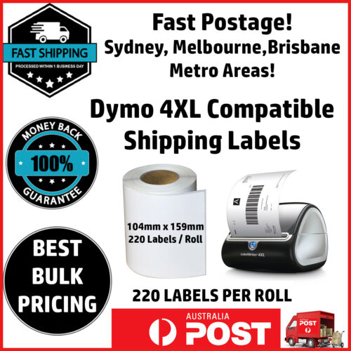 Compatible Dymo 4XL LabelWriter S0904980 Shipping Labels 104x159mm Free Postage <br/> BEST PRICING & GREAT QUALITY. FAST SHIPPING FROM SYDNEY