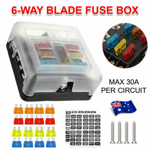 23PC 6 Way Blade Fuse Box Block Holder Indicator LED Light 12V/32V Car Marine AU