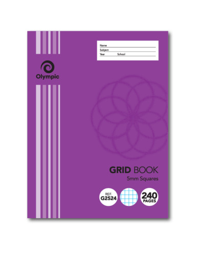 5 x Olympic Grid Book Squares 5mm 240 Pages 225 x 175mm Purple G2524 140795