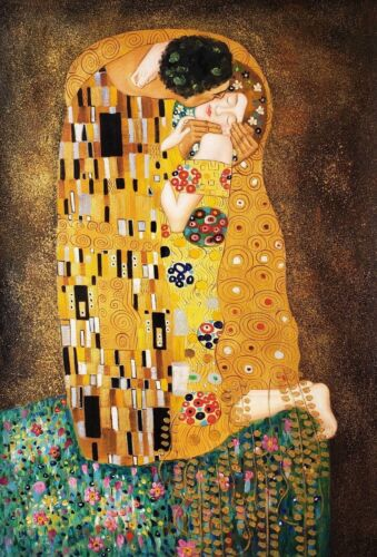 """""""The Kiss"""" by Klimt , 24x36, Oil painting Reproduction on Canvas"""