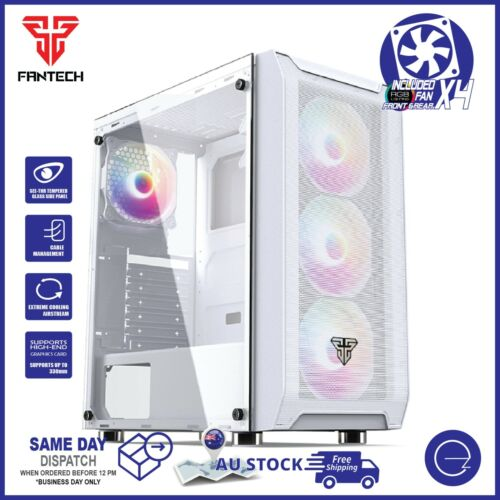 Fantech PC Gaming Computer Case Tempered Glass ATX Tower with 4 x Fixed RGB Fan