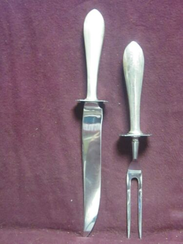 """Sterling Whiting Colonial STEAK CARVING SET KNIFE 10 1/2"""" & FORK 8 3/4"""" no mono"""