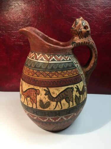 Vintage Peruvian Traditional Patterns/Alpaca  Pottery Terracotta (Clay) Pitcher
