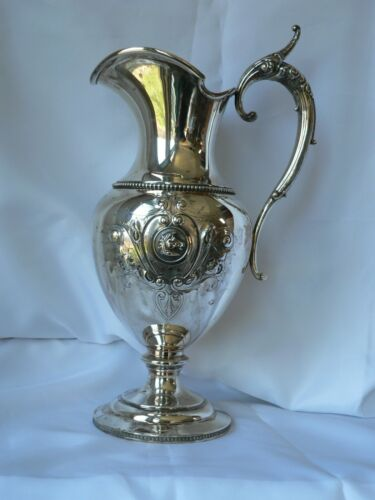 WOOD & HUGHES GRECIAN Coin Silver WATER PITCHER Ewer with  HORSE MEDALLION