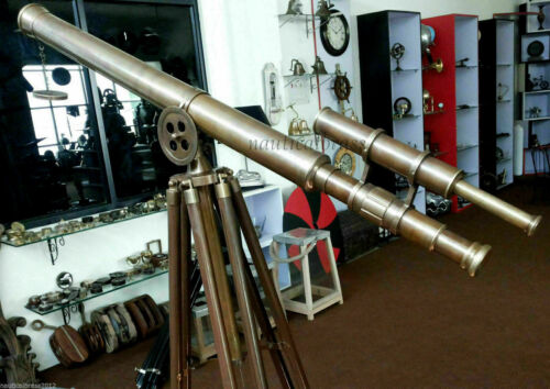 Vintage Brass Double Barrel Antique Astro Telescope With Tripod Stand Gift Item