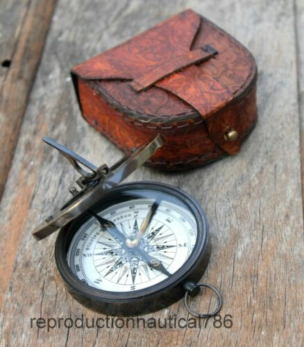 Antique Style Nautical Brass Sundial Compass Maritime Camping Compass With Case