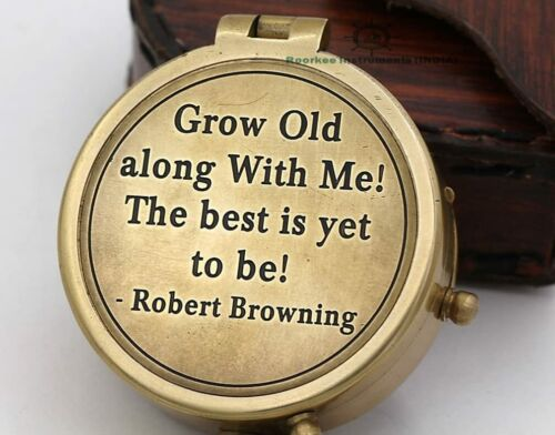 Vintage Collectible Compass Robert Browning Quote Engraved for Camping, Hiking