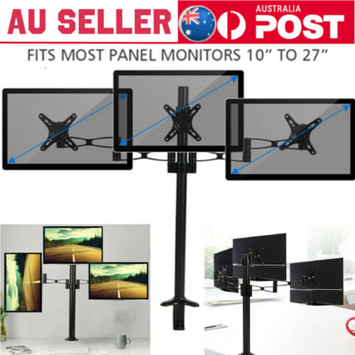 Adjustable Triple Monitors Stand 10 to 27inch 3 Screens Durable Desk Mount Stand