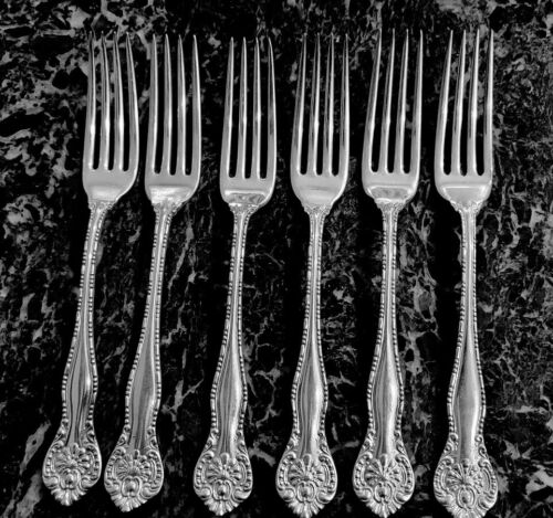 """6 Dinner Forks 7 1/2"""" WM Rogers York Pattern 1900 Silverplate Excellent Scarce!"""