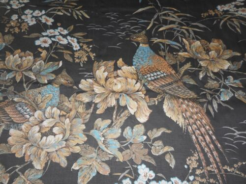 Vintage French Chinoiserie Floral Pheasant Bird Cotton Fabric ~ Black Blue Brown