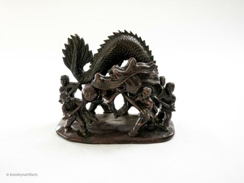 Antique Early 20th C Chinese Soapstone Carving Serpent / Dragon Figure Statue