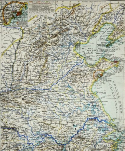1895 Antique MAP of CHINA. BEIJING. ASIA. 125 years old chart