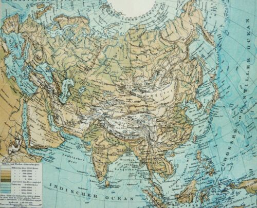 1895 Antique physical map of ASIA. RIVERS. MOUNTAINS. 125 years old chart
