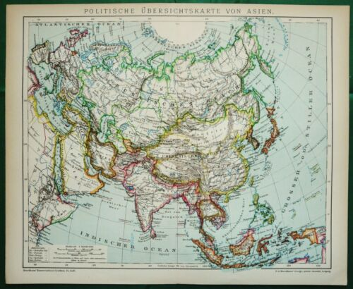 1895 Antique map of ASIA. CHINA. INDIA. JAPAN. KOREA. IRAN. IRAK. AFGHANISTAN...