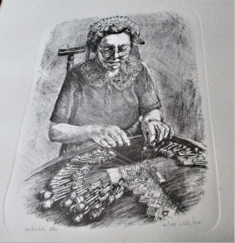NUMBERED SIGNED ETCHING PRINT LACE MAKER See Penciled Signature 11x14