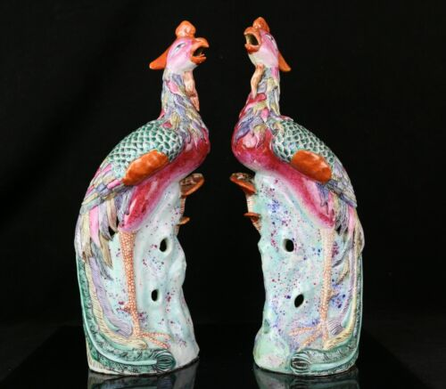 """Pair of Antique Chinese Porcelain Famille Rose Phoenix 14.5"""" Figurines"""