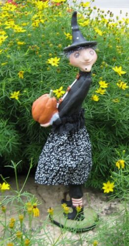 WITCH SCULPTURE w/Pumpkin*Primitive Halloween/French Country Farmhouse Decor*NEW