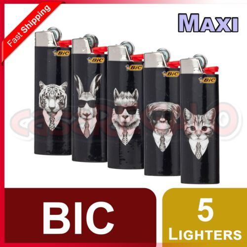 5 pcs BIC Maxi Lighters Tobacco Cigarette Made in France Limited Edition J26