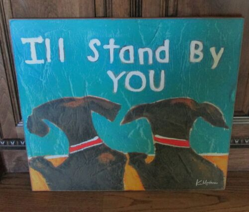 BLACK DOG Friends PICTURE*Primitive/French Country Farmhouse Decor Wall Sign*NEW
