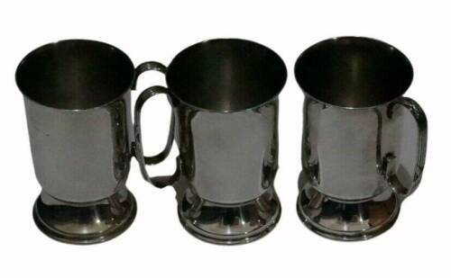 SET OF 3 SILVER PLATED BEER MUGS TANKARDS NEWCRAFT EPNS 11CM