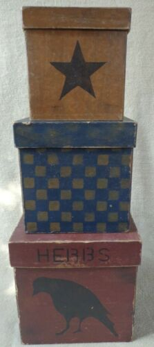 Primitive Nesting Boxes Star Checkerboard Crow Herbs C. Reeve ~ FREE SHIPPING